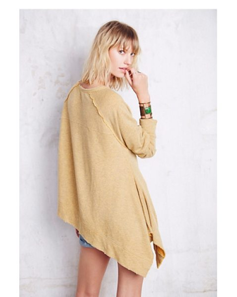 Free People Raw edge shark bite pullover in goldenrod - Super soft and comfy oversized pullover with an...