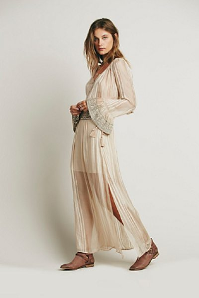 Free People Ray of light set in almond - Boho inspired sheer top and skirt set.  Button-down crop...