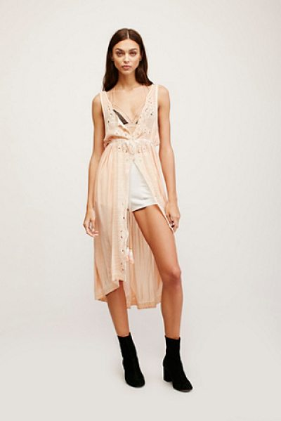 Free People Riptide maxi in peach - Effortless maxi top featuring tonal embroidery and...