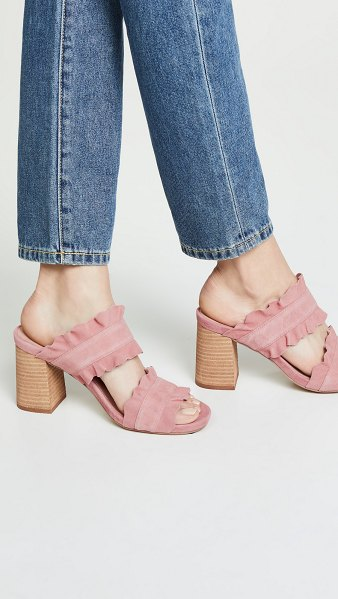 Free People rosie ruffle mules in blush