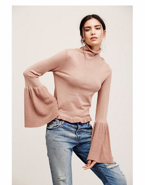 Free People Ruffle fan pullover in toasted almond - Comfy knit pullover featuring a drapey turtleneck with...