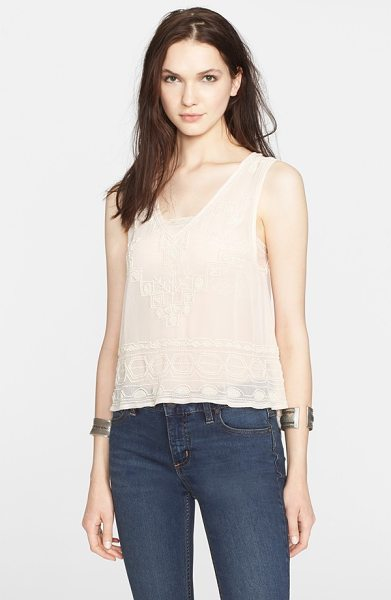 FREE PEOPLE run with it embellished tank - Inky beadwork details a sheer V-neck tank finished with...