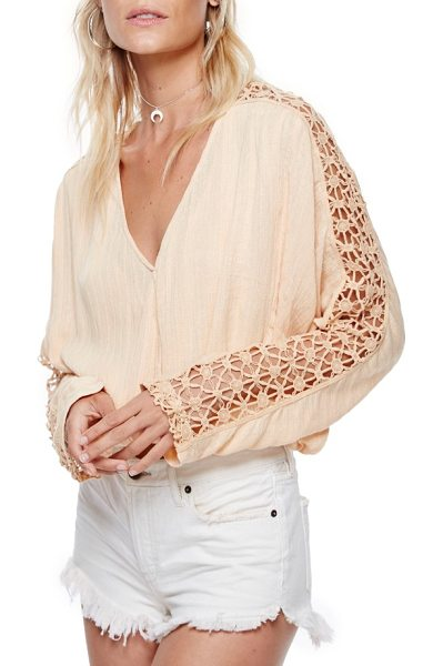 Free People runaway blouse in peach - Channel your most bohemian persona in this nicely draped...