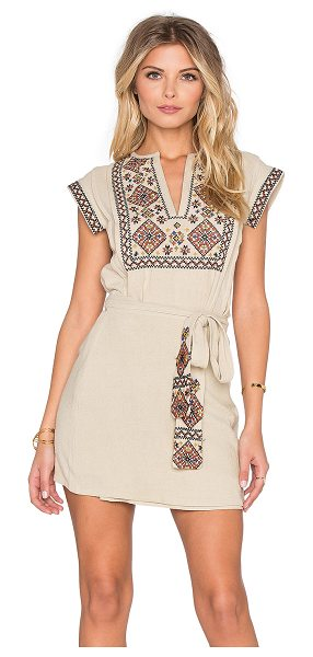 FREE PEOPLE Running wild embroidered dress - Cotton blend. Unlined. Embroidered contrast. Wrap tie...