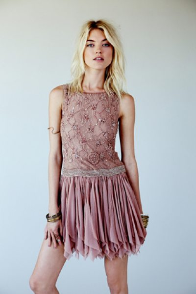 Free People Samantha embellished dress in rosewater - Semi-sheer chiffon party dress with heavy bead and...