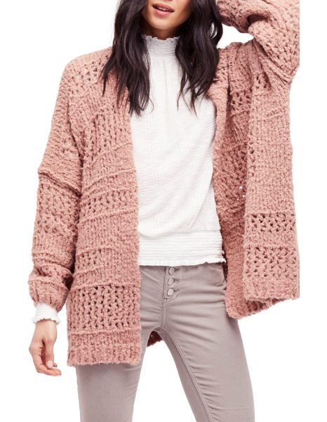 Free People saturday morning cardigan in pink - Elevate your cozy-chic style game with a chunky knit...