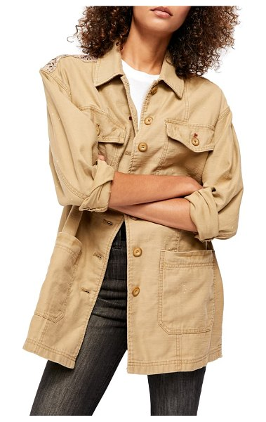 Free People seamed & structured patchwork cotton jacket in beige