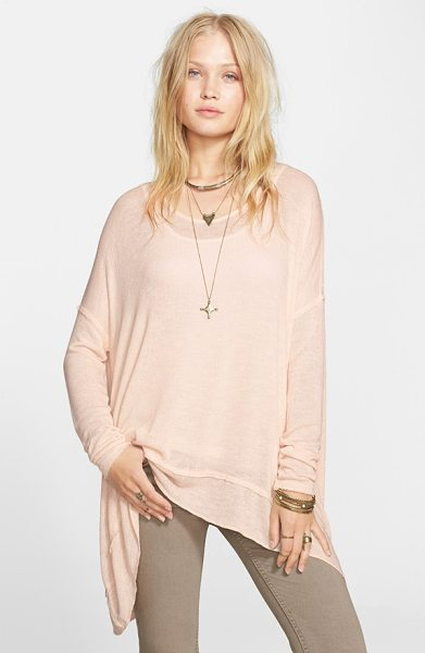 Free People shadow oversize hacci open back top in alabastor cream - A lightweight hacci-knit top features a drapey,...