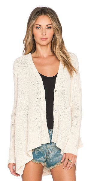 Free People Shark hem cardigan in cream - 84% cotton 16% rayon. Hand wash cold. Button front...