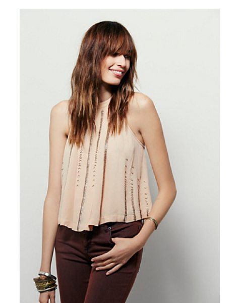 Free People Shimmer and shine tank in pink - Swingy cropped tank with beaded embellishment accents....