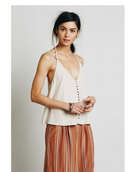 Free People Shimmy shaker tank in faded peach - Shapeless V-neck tank with metal button closures and a...
