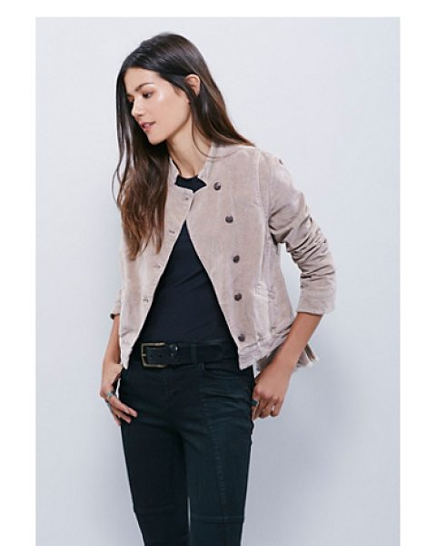 FREE PEOPLE Shrunken uncut cord jacket - Military inspired uncut cord jacket cropped to the...