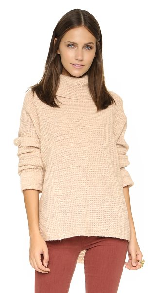 Free People Sidewinder pullover in oatmeal - A slouchy neck and waffle knit panels accent this cozy...