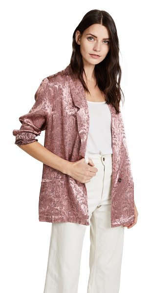 Free People silky jacquard blazer in pink - A relaxed fit lends an effortless feel to this paisley...