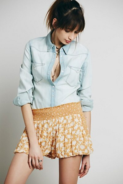 Free People Silver lace soft short in goldenrod combo - Mixed print crinkly crepe short with stretchy smocked...