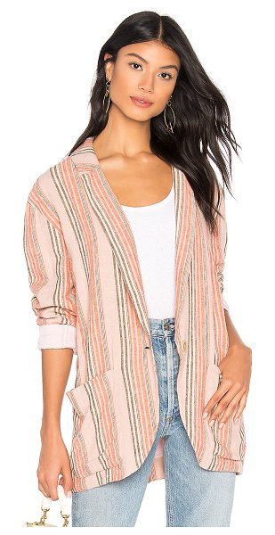 Free People Simply Stripe Blazer in blush - Cotton blend. Hand wash cold. Button front closure....