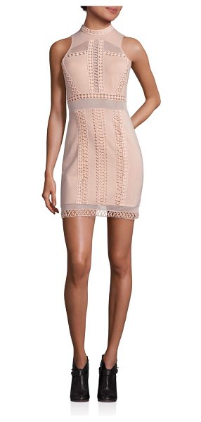 Free People skyscraper mini dress in nude - Body-con mini dress with feminine crochet insets....