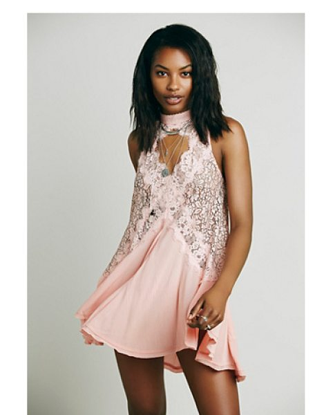 Free People S/l lace pieced rayon in peony - Romantic lace and crepe pieced tunic with a swingy...