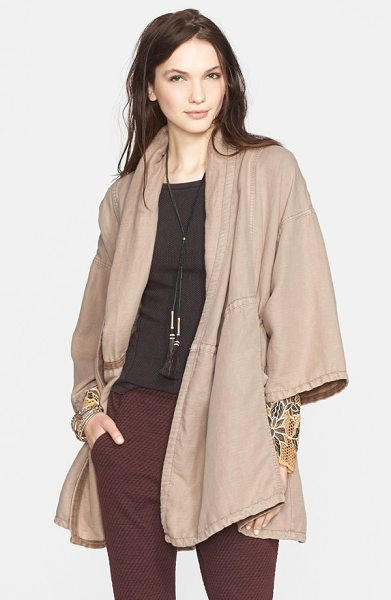 Free People slouchy coat in oatmeal - An internal drawstring at the midsection and roomy,...