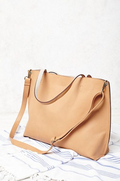 Free People Slouchy vegan tote in tan / grey - This reversible carry-everything vegan leather tote...