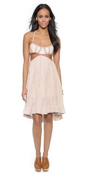 Free People Smock stitch dress in nude - Allover smocking brings feminine texture to this...