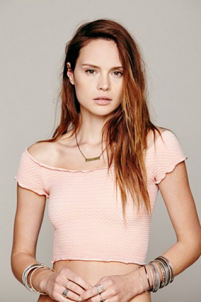 Free People Smocked crop top in soft pink - Seamless smocked crop top with scoop neck. Edges are...