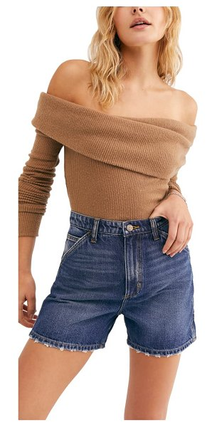 Free People snowbunny off the shoulder long sleeve tee in brown