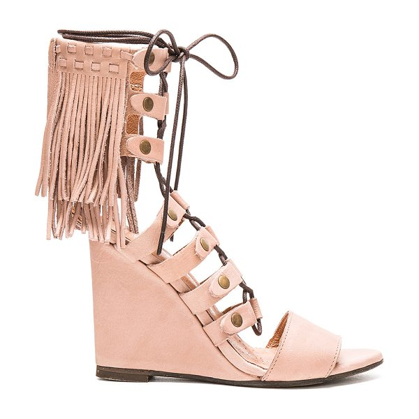 Free People Solstice fringe wedge in blush - Leather upper with man made sole. Fringe detail. Lace-up...