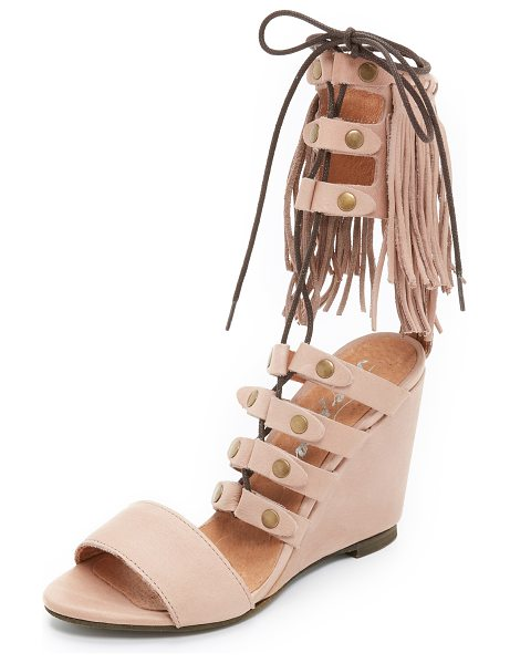 Free People Solstice fringe wedges in blush - Fringe accents the cuff of these smooth leather Free...