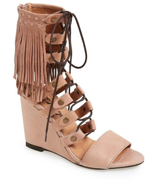 Free People solstice sandal in blush leather - Layered fringe tops a chic lace-up sandal set on a...