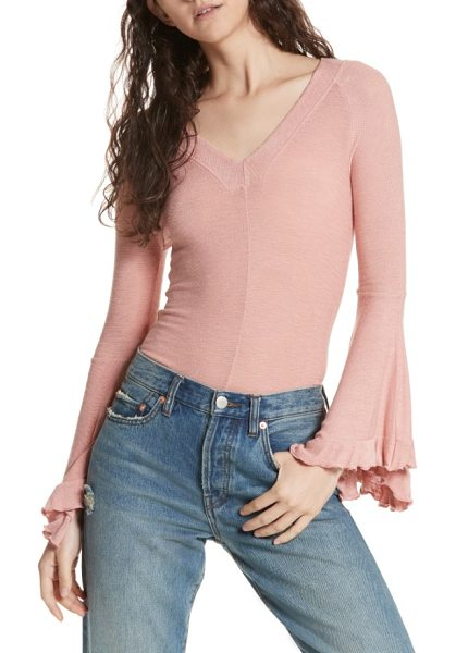 Free People soo dramatic bell sleeve top in rose - Turn up the drama with this supersoft and fitted top...