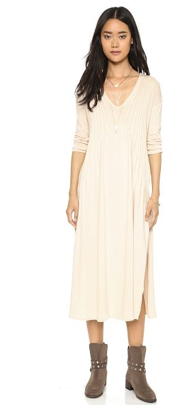 Free People Sophies midi tee dress in champagne - Shutter pleats frame the neckline on this relaxed Free...