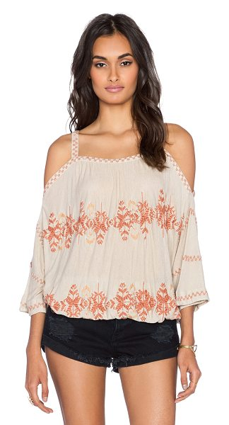 Free People South by southwest top in taupe - 85% viscose 15% linen. Elasticized waist. Embroidered...
