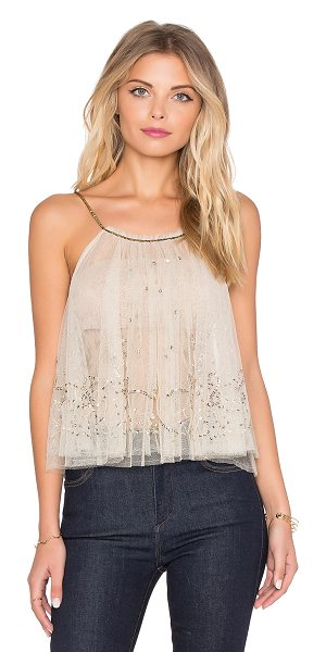 FREE PEOPLE Sprinkled tank - 100% poly. Hand wash cold. Sheer mesh fabric. Sequin...