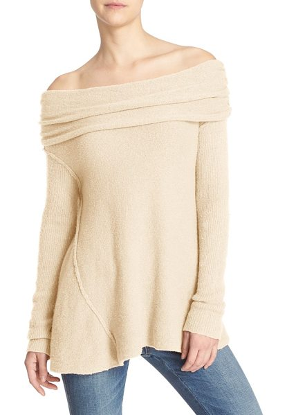 Free People 'strawberry fields' off the shoulder sweater in cream - Knit in a rich cotton blend with a soft feel, this cozy...