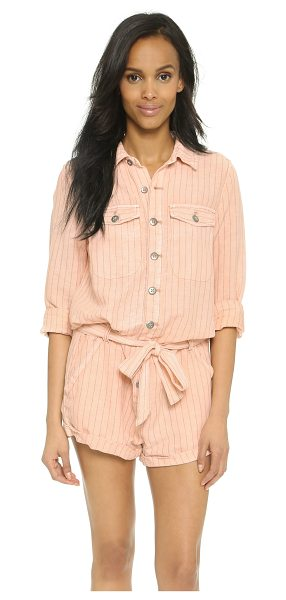 Free People Stripe romper in peach combo - Pinstripes lend a tasteful accent to this slouchy Free...