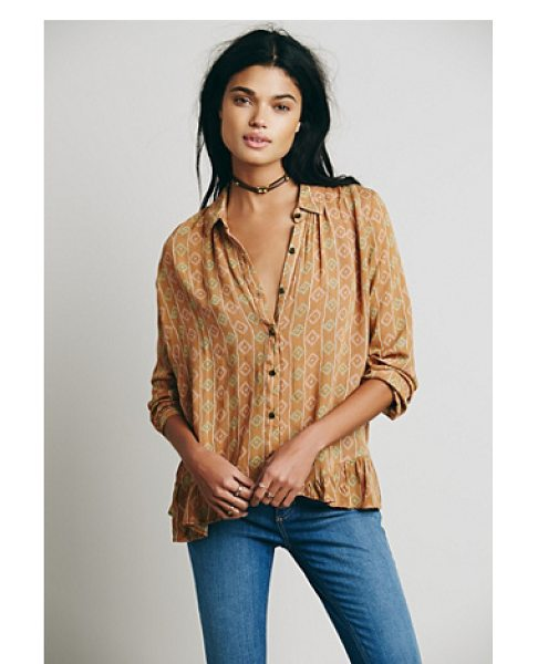 Free People Stripe ruffle hem button down in buttercup combo