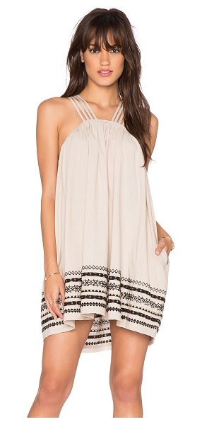 Free People Structured cotton batiste kashmir tent dress in beige - 100% cotton. Lined. Multi-strap detail. Embroidered...