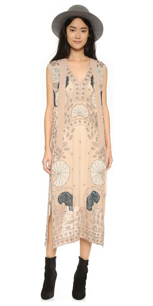 Free People Stuck on you maxi dress in sand combo - Floral appliqués and dense clusters of beads embellish...