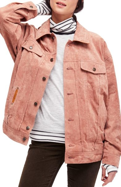 FREE PEOPLE suede trucker jacket - Hit the road in a luxuriously soft suede jacket cut for...