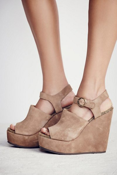 Free People Sugarhigh platform wedge in brown - Classic open toe wedges featuring an adjustable ankle...