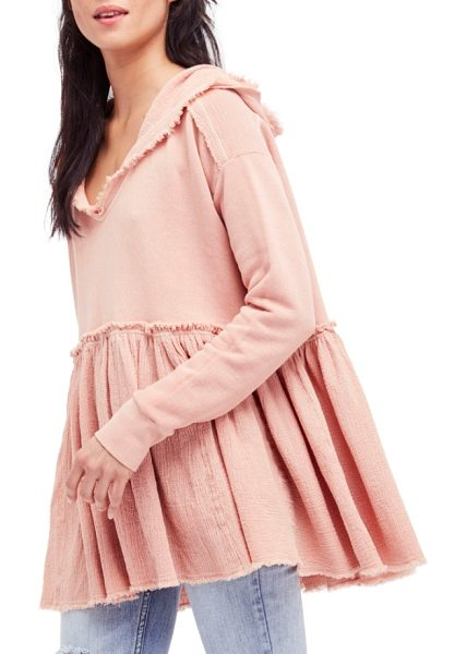 Free People summer dreams hooded pullover in rose - A flouncy, skirted hemline adds a playful update to a...