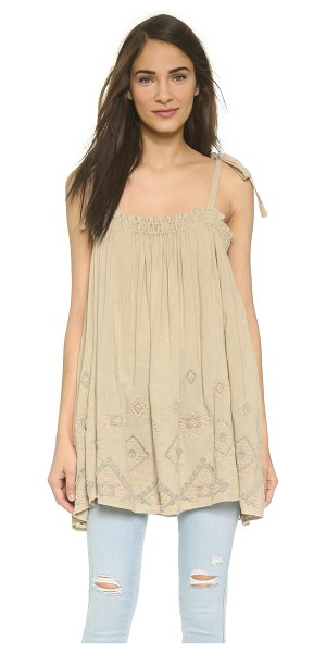 FREE PEOPLE Summer sun tunic - Muted embroidery adds soft color to this swingy Free...