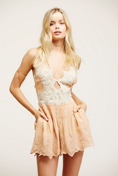 Free People Sun kisses romper in peach combo - Pretty romper with keyhole cutout in front and...