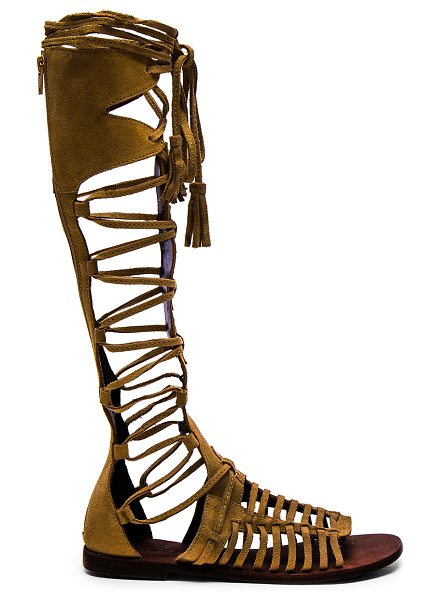 Free People Sun seeker gladiator sandal in brown - Suede upper with rubber sole. Caged cut-out detail....