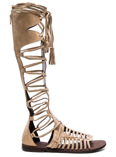 Free People Sun Seeker Gladiator Sandal in taupe - Suede upper with rubber sole. Caged cut-out detail....