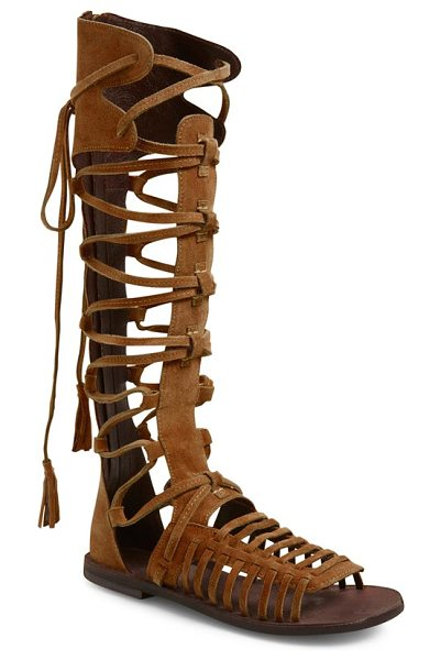 Free People sun seeker tall gladiator sandal in honey whiskey suede - Buttery-soft suede distinguishes the sultry, cagey...