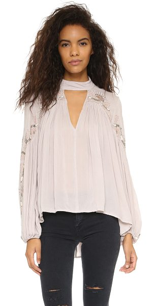 Free People Sweet escape blouse in champagne - Contrast embroidery and intricate beading lends a...