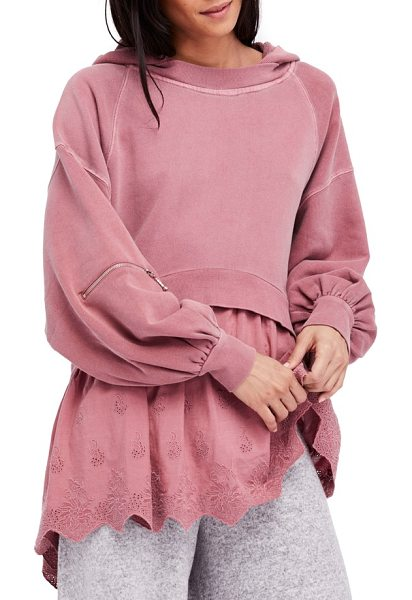 Free People sweet streets hoodie in mauve - The slouchy washed-down hoodie has a flair for the...