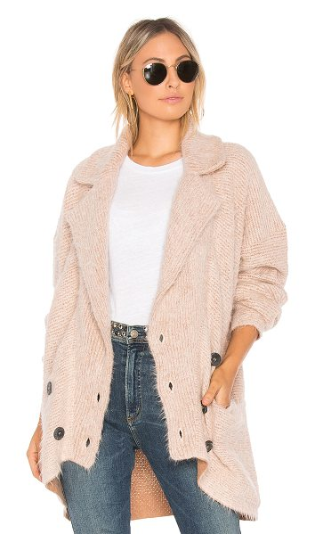 Free People Take Two Sweater Coat in pink - 61% cotton 34% alpaca 5% nylon. Dry clean only. Button...